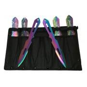 Set 6 Cutite de Aruncat Multicolor cu Husa de Prindere la Picior