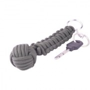 Paracord 550 Best Monkey Fist Cobra Self Defense keychain for Camping Hiking Outdoor Activities long grey