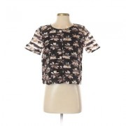 Assorted Brands Short Sleeve Top Black Print Scoop Neck Tops - Used - Size Small