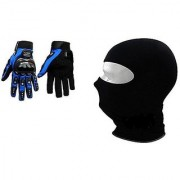 Combo Blue Pro-Biker Gloves + Face Mask for Winter