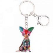Porte-clés émail chien Chihuahuas 47 mm