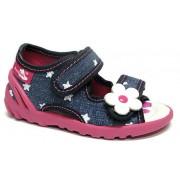 Sandale fetite, din material textil, cu scai, jeans cu floricel