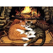 Diy Oil Painting, Paint By Number Kit Orange Cat And Black Cat 16*20 Inch.