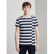 TOM TAILOR DENIM gestreepte T-Shirt, Heren, navy regular big stripe, M