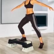 HOMCOM Step Fitness Preto e cinzento Plástico 76x29x12.5-22,5 cm