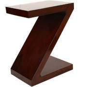 Santosha Decor Z Shape Bedside Table / End Table / Sofa Side Table/ Wooden Table - Indian Sheesham Wood PU Polish (Mahogany Finish)