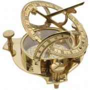 """THORINSTRUMENTS (with device) 4"""" Sundial Compass Solid Brass Sun Dial"""