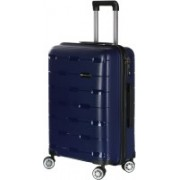 Nasher Miles Santorini PP Hard-Sided Check-In Luggage Bag Navy Blue 25.6 Inch | 65CM Trolley/Travel/Tourist Check-in Luggage - 24 inch(Blue)