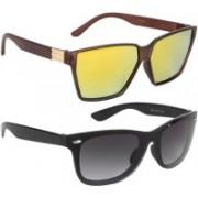 NuVew Rectangular, Wayfarer Sunglasses(Black, Golden, Violet)