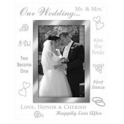 Malden International Designs Malden Mirrored Glass Picture Frame, Our Wedding, 4 by 6-Inch