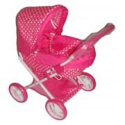 Rózsaszín fehér pöttyös baba babakocsi fehér vázzal és kerékbelsővel