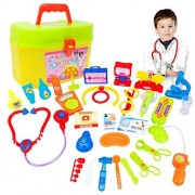 Livoty 30pcs Kids Baby Doctor Medical Play Carry Set Case Education Role Play Toy Kit (A)