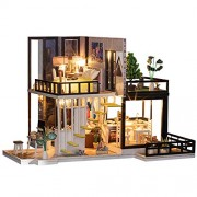 iiE Create Doll House Wooden Toy Miniature Houses Dollhouse With Furniture Dustproof Cover LED
