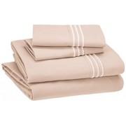Amazon Basics AmazonBasics, Juego de sábanas de Hotel microfibra con bordado de alta calidad, Rosa, Cal King