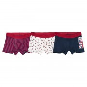 La Redoute Collections Lote de 3 boxers em algodão, tema Inglês, dos 2/3 aos 10/12 anosAzul/Branco/Vermelho- 6/8 anos (114/126 cm)