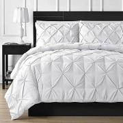 Comfy Bedding Juego de edredón Plisado de 3 Piezas para Todas Las Estaciones, Doble Aguja, Costuras duraderas, Queen, Color Blanco