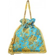AyA Fashion Designer Royal Ethnic Clutch Silk Potli Batwa Wallet Bag with Beads Work |Hand embrodired and Golden Lace work Potli(Blue)