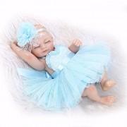 "iCradle Lovely Reborn Baby Doll Soft Vinyl Silicone Full Body Girl Eyes Closed Preemie Tiny 10"" 26cm New Born Baby Dolls Blue Dress"