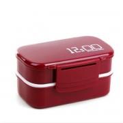 Latticed Double-decked plastic Lunchbox met gespen (wijn rood)
