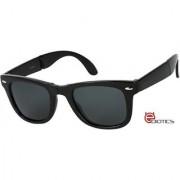 Ediotics Trendy Matte Black Folding Wayfarer Style Designer Sunglasses