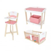 Hape Wooden Baby Doll Highchair + Play Baby Cradle + Diaper Changing Table
