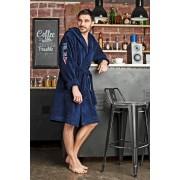 Five Wien Укороченный мужской халат из бамбука в спортивном стиле темно-синего цвета Five Wien FW1008 Синий