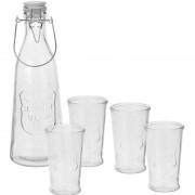Merkloos Water karaf met 4 glazen