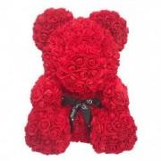 Ursulet Rose Bear din Trandafiri Rosii + Lantic cu Pandantiv inscriptionat Te Iubesc I Love You in 100 de limbi inaltime 40cm