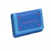 Billetera Cloe Flap Detalle De Costuras En Frame - Azul