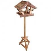 Voedertafel voor vogels met boomschors dak