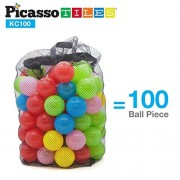 PicassoTiles 100pc 2.3inches BPA Free Crush Proof Plastic Ball Premium Non-Toxic Soft Pit Balls Phthalate-Free for Bounce House Swim Pit Tent Jumping Playhouse in 5 Vibrant Colors w/ Mesh Carry Bag