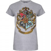 Geek Clothing Harry Potter Hogwarts Crest Dames T-Shirt - Lichtgrijs - XXL - Grijs