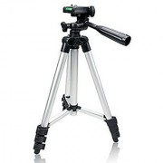 GadgetsMania 3110 Portable Foldable Camera Tripod with 3D Head Quick Release Plate Fully Flexible Mobile Clip Holder