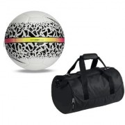 Combo of React Hypervenom White/Black Football (Size-5) with Kit Bag