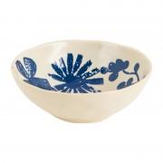 Xenos Schaal bloemmotief - wit/blauw - 13.5 cm