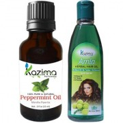 KAZIMA Combo of Peppermint Oil 15ML and Amla Herbal Hair Oil 100ML Anti Hair Loss Treatment & Dandruff Control