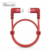 Adam Elements PeAk II Lightning Cable - сертифициран Lightning към Micro-USB кабел за DJI Remote Controller (30см) (червен)