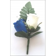 2 x ROSE BUTTON HOLES BLUE & IVORY + SPRAY
