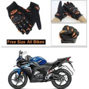 AutoStark Gloves KTM Bike Riding Gloves Orange and Black Riding Gloves Free Size For Honda CBR 150R