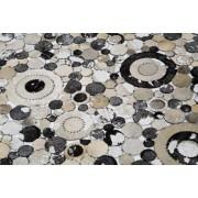 Kare Design Vloerkleed Big Circle Grey - L170 X B240 Cm - Leer - Multikleur