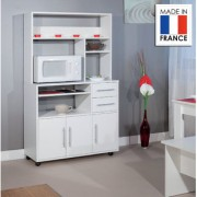 Colette High microwave storage cabinet on four castor wheels - dcor white