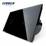 Intrerupator simplu + simplu cu touch Livolo din sticla, negru