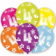 Merkloos 6x stuks feest ballonnen kleuren 4 jaar verjaardag 27 cm