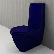 Toiletpot Set Staand Carino 68x36x92cm Keramiek Diepspoel Nano Coating EasyClean Rimfree Glans Blauw met Toiletbril