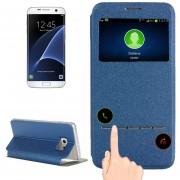 Para Samsung Galaxy S7 EDGE / G935 Horizontal Flip Funda De Cuero Con Soporte Y Llamada Pantalla Id (azul)