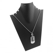 eshoppee L Name Plate Locket with Dog tag for Men and Women