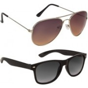 Voyage Aviator, Wayfarer Sunglasses(Black, Brown, Black, Violet)