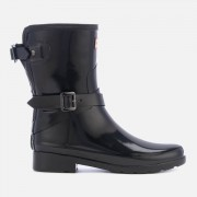 Hunter Women's Refined Back Adjustable Gloss Short Wellies - Black - UK 6 - Black