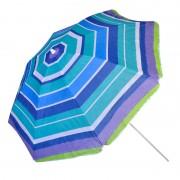 Umbrela pentru plaja, 180 cm, model dungi, Albastru