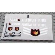 Lego Original Sticker Sheet for Town/City Set #7239 Fire Truck